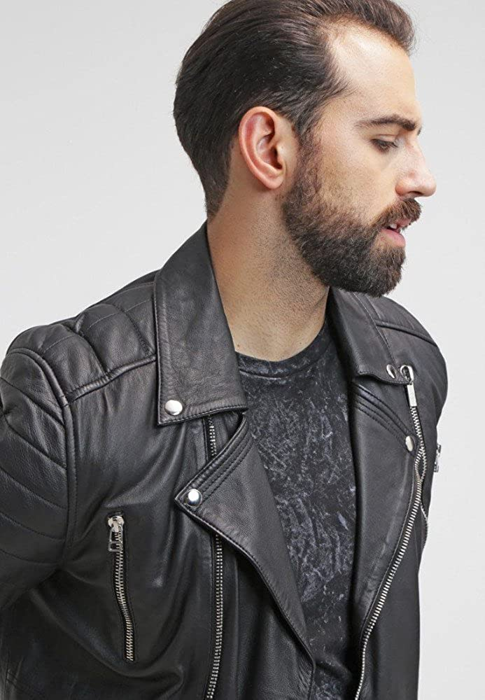 Hellojeehouse Men Leather Jacket Black Slim Fit Biker Motorcycle Lamskin Jacket 93