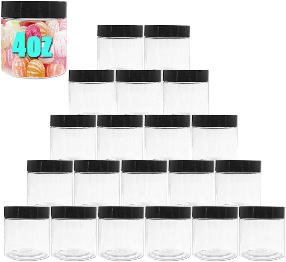 20 PCS Plastic Clear Jars,4oz Empty Round Slime Bottle,Wide-mouth Storage Container for Cosmetic,Lotion,Candy,Crafts,Food,Nails,Powder,Jewelry