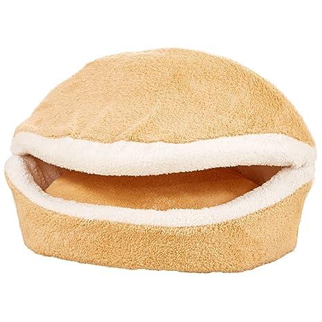 Leosi - Cama para gatos con forma de hamburguesa con funda desmontable, resistente al viento