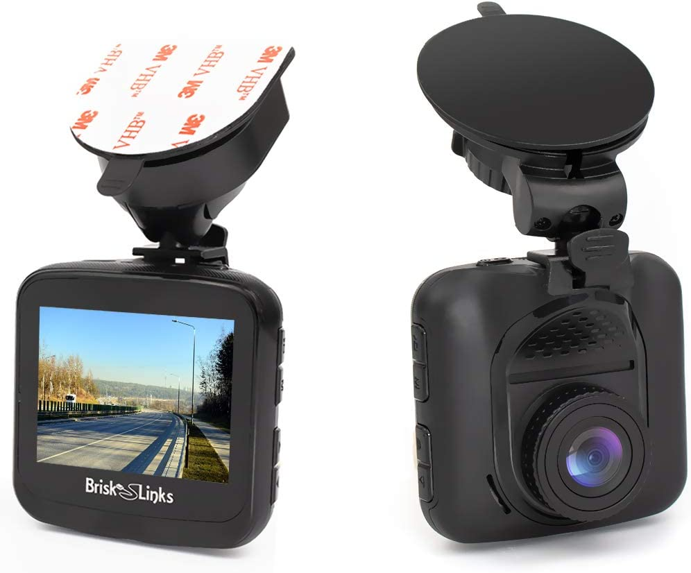 Brisk Links Dash Cam Full HD 1080P, Durable Low Profile Design, 156 Super Wide Viewing Angle, G-Sensor, Loop Recording, Super HDR, Motion Detection, with Bonus Multi Optional Mounts