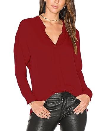 ffcd077bb49 Dohia Women s Casual V Neck Chiffon Blouses Long Sleeve Loose Tops Shirt  C2613 (S