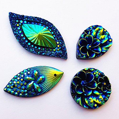 80 Big Flower Blue Mixed size Sew On Rhinestones Flatback Beads Stones Sewing For Clothing Wedding Dress Decorations 2 Holes
