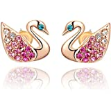 findout plaqué or rose Grâce et élégance cristal de zircon boucles d'oreilles cygne (F732)