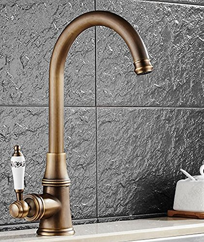Antique Retro Deluxe Faucetinging Free Shipping Deck Mounted Kitchen Faucet Black Porcelain Handle Faucet Hot Cold Mixer Basin Tap 360 Swivel Luxury Faucet,Chrome