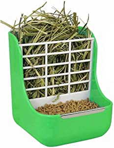Goldeal 2 in 1 Double Use Food and Hay Feeder Rack for Rabbit, Guinea Pig and Other Small Animals (Green)