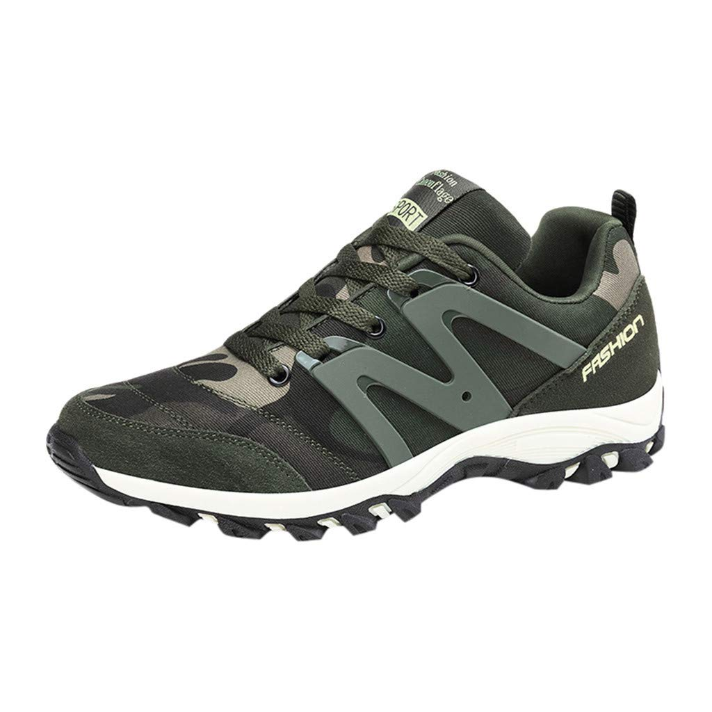 Non-Slip Sneakers Men Women,Mosunx Athletic 【Couple Camouflage Arch Support】Lace Up Breathable Comfortable Gym Running Shoes Trail Walking Shoes (8.5 M US, Army Green) by Mosunx Athletic
