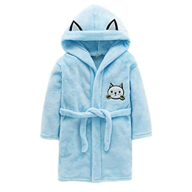 c860baba2c JIANLANPTT Soft Warm Bathrobe Kids Boys Flannel Hooded Cartoon Robe Pajamas  Blue 3-4Years