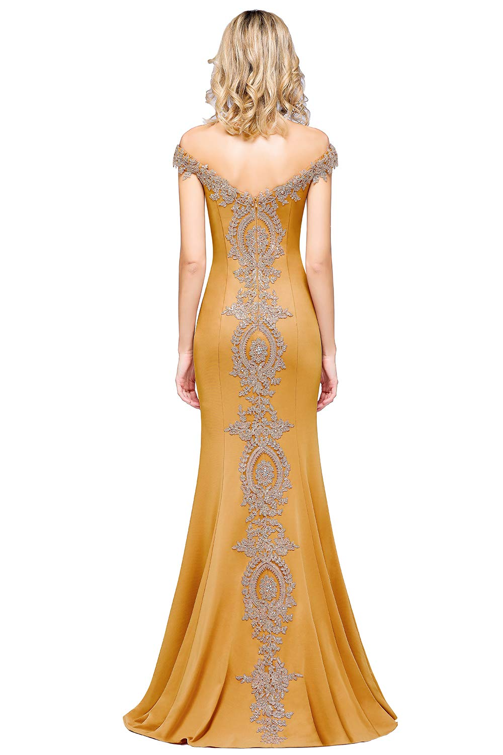 5046d11f982e Home/Brands/MisShow/Women's Gold Lace Applique Mermaid Bridesmaid Dress  Wedding Party Gowns,Yellow,8. ; 