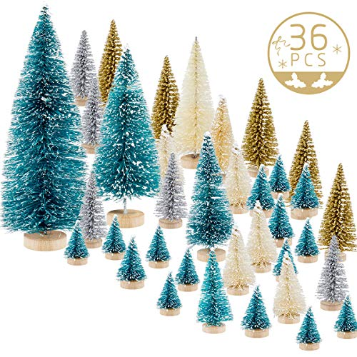 MEWTOGO 36pcs Mini Sisal Trees,Miniature Christmas Trees for Craft,Bottle Brush Trees,Pine Trees for Christmas Village,Artificial Snow Frost Trees As Christmas Ornaments Party Decoration Accessries