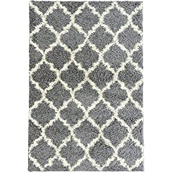 "Ottomanson Ultimate Shaggy Collection Moroccan Trellis Design Shag Kids Rug, 7'10"" W x 9'10"" L, Gray"