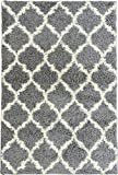 Ottomanson Ultimate Shaggy Collection Moroccan Trellis Design Shag Rug Contemporary Bedroom and Living room Soft Shag Rugs, Grey, 7'10 L x 9'10 W
