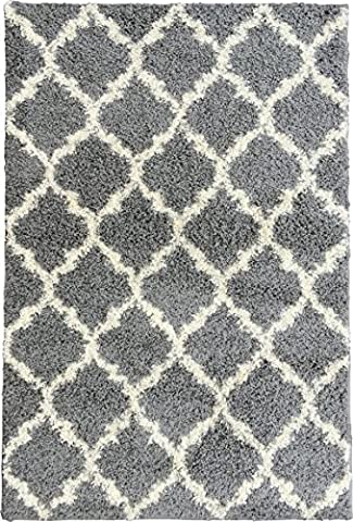 Ottomanson Ultimate Shaggy Collection Moroccan Trellis Design Shag Rug Contemporary Bedroom and Living room Soft Shag Rugs, Grey, 7'10