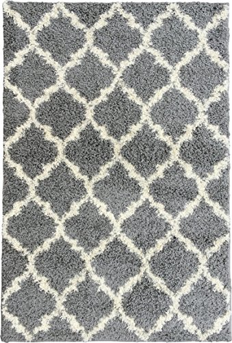 Ottomanson Ultimate Shaggy Collection Moroccan Trellis Design Shag Rug Contemporary Bedroom and  ...