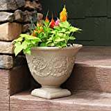 Sunnydaze Darcy Outdoor/Indoor Flower Pot Planter, Heavy-Duty Double-Walled Polyresin with Fade-Resistant Pebble Grey Finish, Single, 16-Inch Diameter