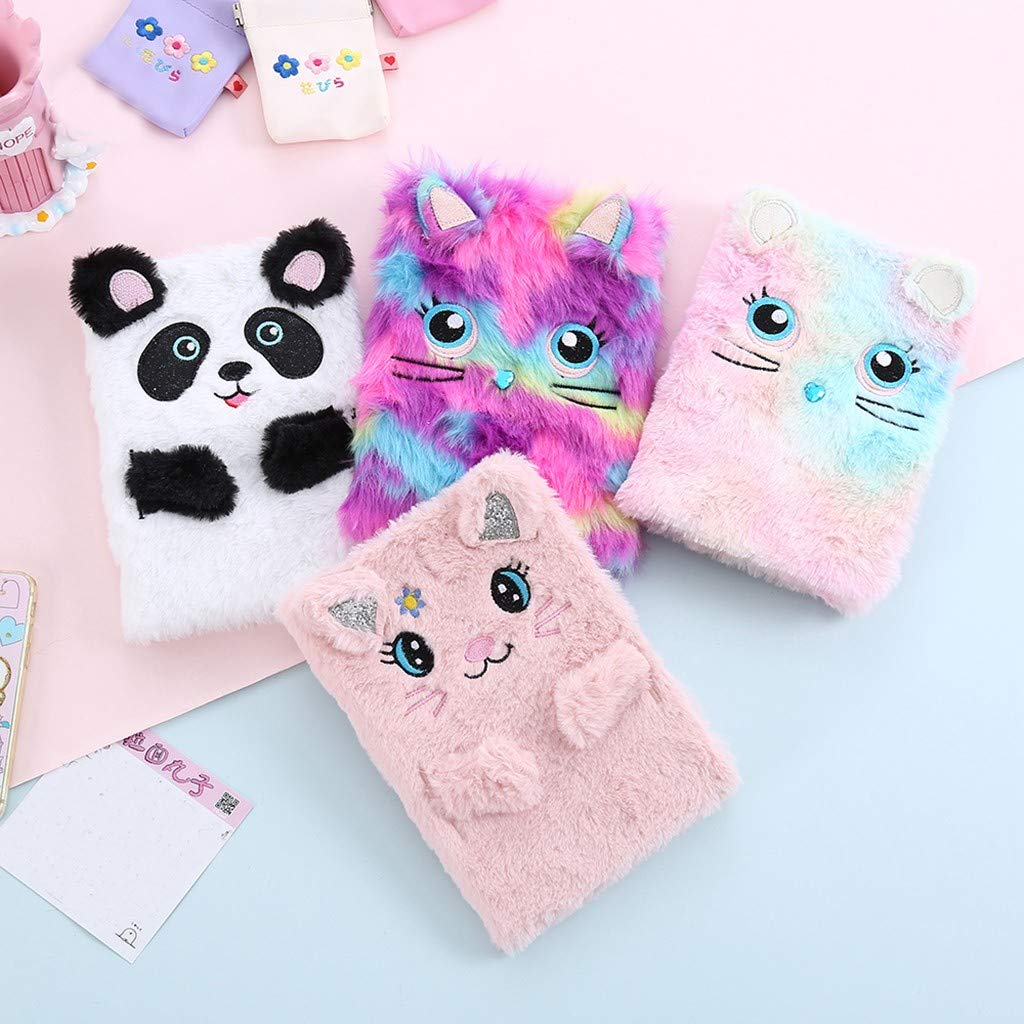 Fluffy Colourful Hardback Notebook,TADAMI Cartoon Cute Adorable Animal Design Notepad Sketch Book Diary Book Notebook Pape for Girls Gift for Drawing Doodling or Sketching