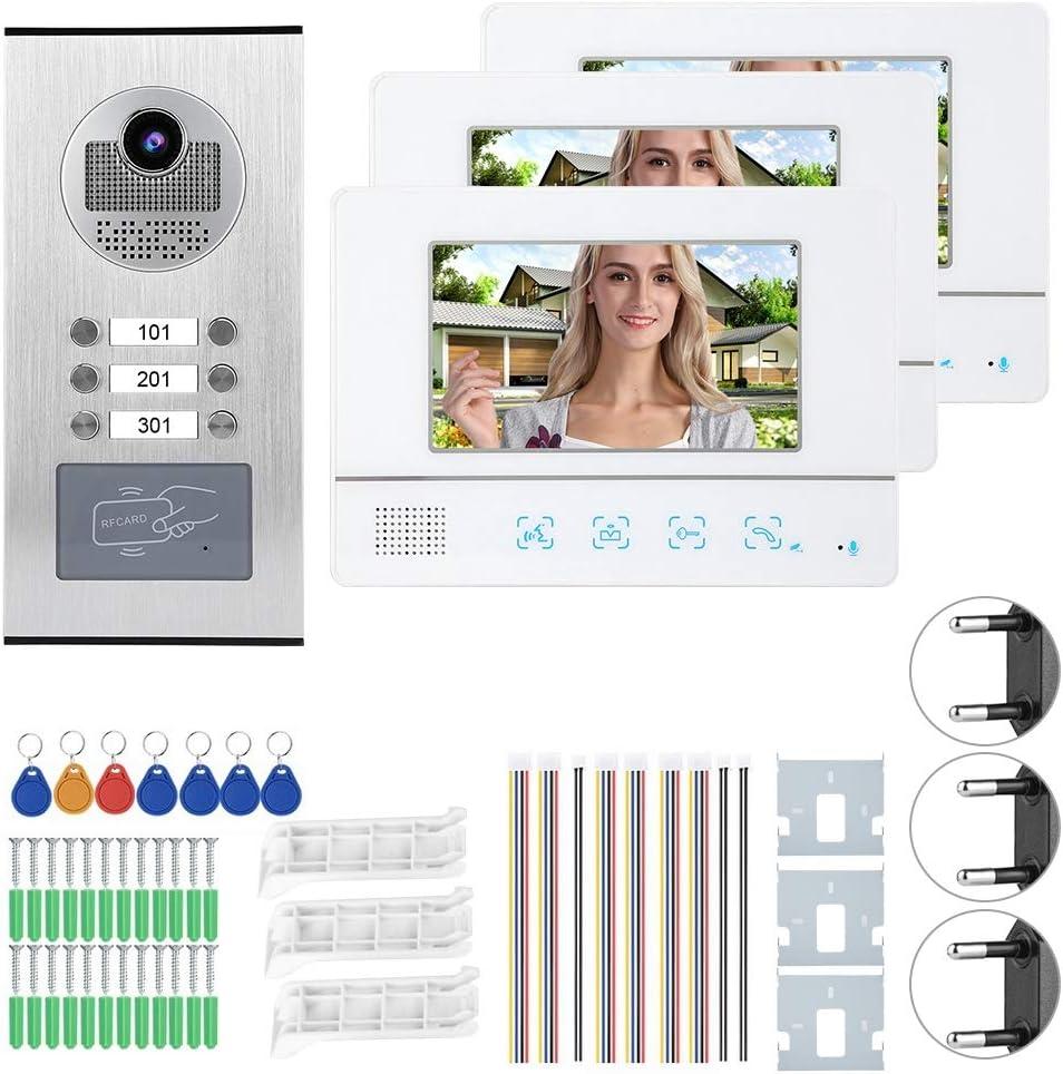 Lecxin Timbre de Video, 7 Pulgadas TFT LCD 3 monitores Videoportero Sistema de Acceso al hogar Portero automático para Habitaciones múltiples, Apartamentos pequeños o Grandes, Comunidad(UE)