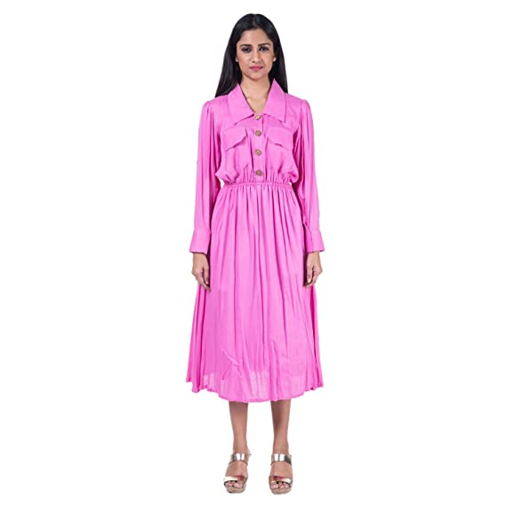 Mamosa Pink Rayon Full Sleeve gown for latest design redymade ...