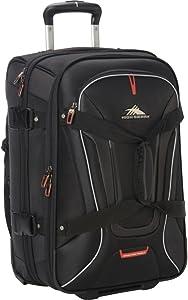 High Sierra AT7 Upright Wheeled Rolling Duffel Bag, Black, 22-Inch