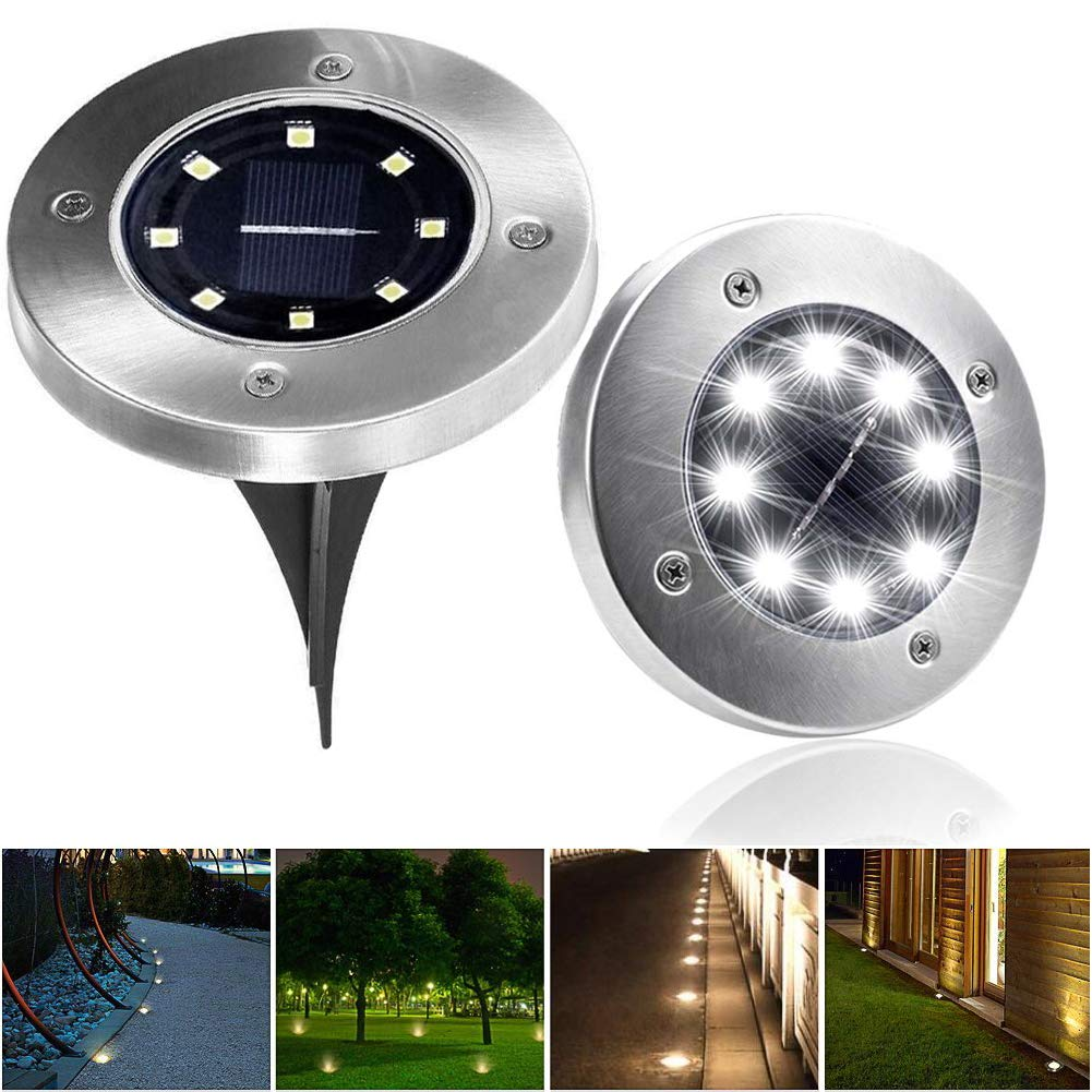 INRAN Solar Ground Lights for Patio Garden Pathway Outdoor In Ground Waterproof Stainless Steel Lights With 8 LED [4 pack][White]