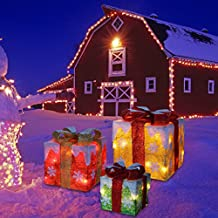 Set of 3 Lighted Gift Box for Christmas and Holiday Decorations by Joiedomi