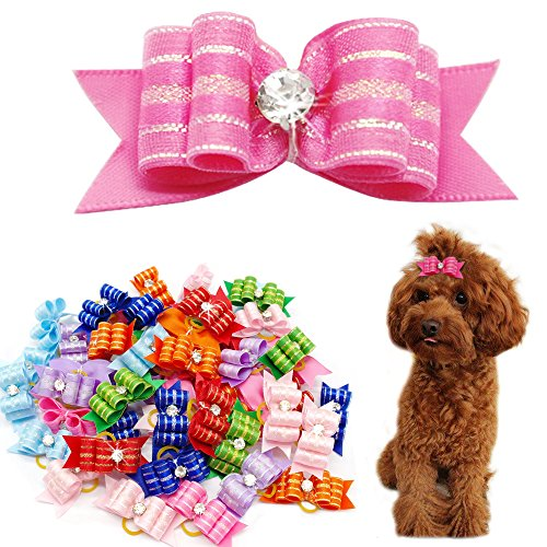 Didog Colorful Multi-Pattern Pet Cat Dog Hair Bows,Classic Topknot Dog Grooming Accessories 50 Pcs Groomer Using