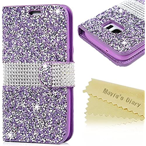 S7 Case,Samsung Galaxy S7 Case - Mavis's Diary Wallet 3D Shiny Sparkle Colorful Diamonds Premuim PU Leather Slim Sales
