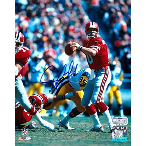 8826942e5 85%OFF Steve Bartkowski Autographed Picture - Throwback 8x10 Red Jersey -  Autographed NFL Photos