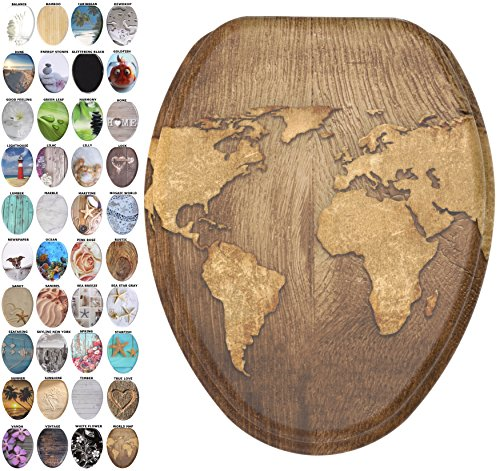 Sanilo Elongated Toilet Seat, Wide Choice of Slow Close Toilet Seats, Molded Wood, Strong Hinges (World Map)