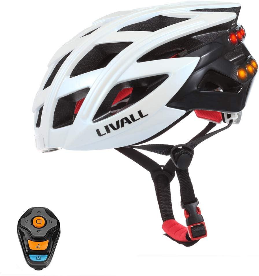 CHEYAL Livall Smart Bike Bluetooth Casco con Manillar Inalámbrico Control Remoto-Luz De La Cola Señales De Giro, Seguridad LED Y Altavoces Bluetooth-Negro