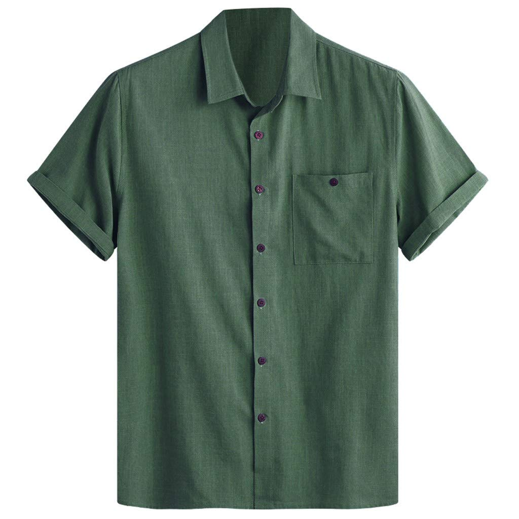 TIFENNY Men's Color Block Shirts Cotton Linen Printed Turn Down Collar Short Sleeve Loose Casual Shirt Tops Summer Tee Green
