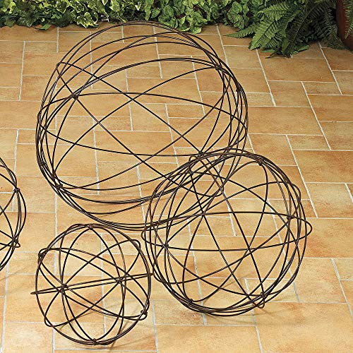 (GIL 1750290 S/3 Heavy Wire Garden Spheres Spring, 28InL x 28InW x 28InH, Brown)