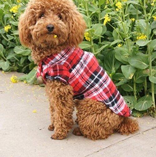 Znyo Ropa para Perros Gato Primavera Verano Teddy Plaid Shirt Productos para Mascotas Red L