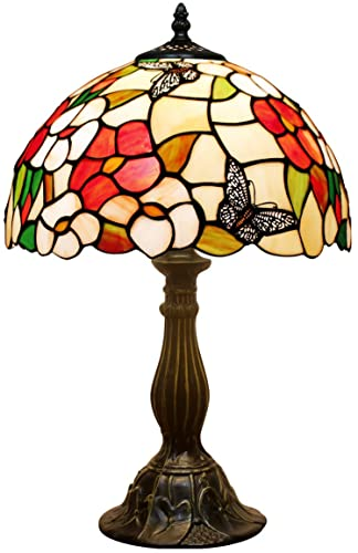 Tiffany Lamp Pink Stained Glass Style Butterfly Shade Table Reading Night Light W12H18 Inch S275 WERFACTORY LAMPS Antique Craft Gift Living Room Bedroom Study Office Coffee Bar Bedside Desk Nightstand