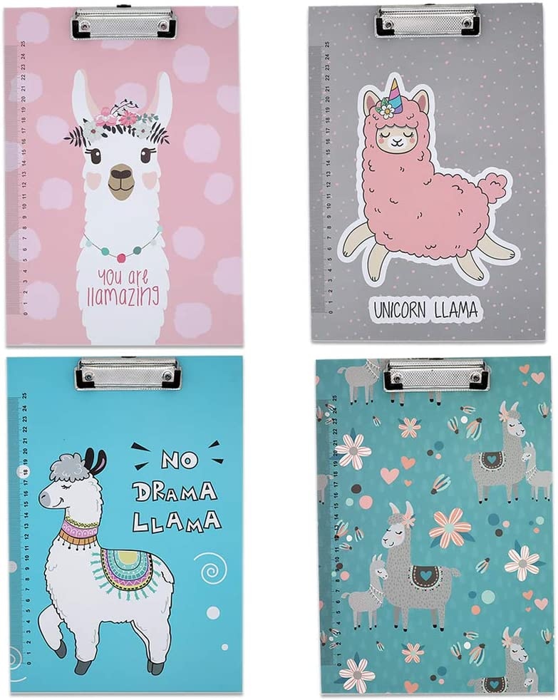 4PCS Cute A4 Unicorn Clipboard, Made of Paper and Metal Clipboard, Writing Board for Student, Office Supplies, 8.66 X 12.4 Inch Storage Clipboard