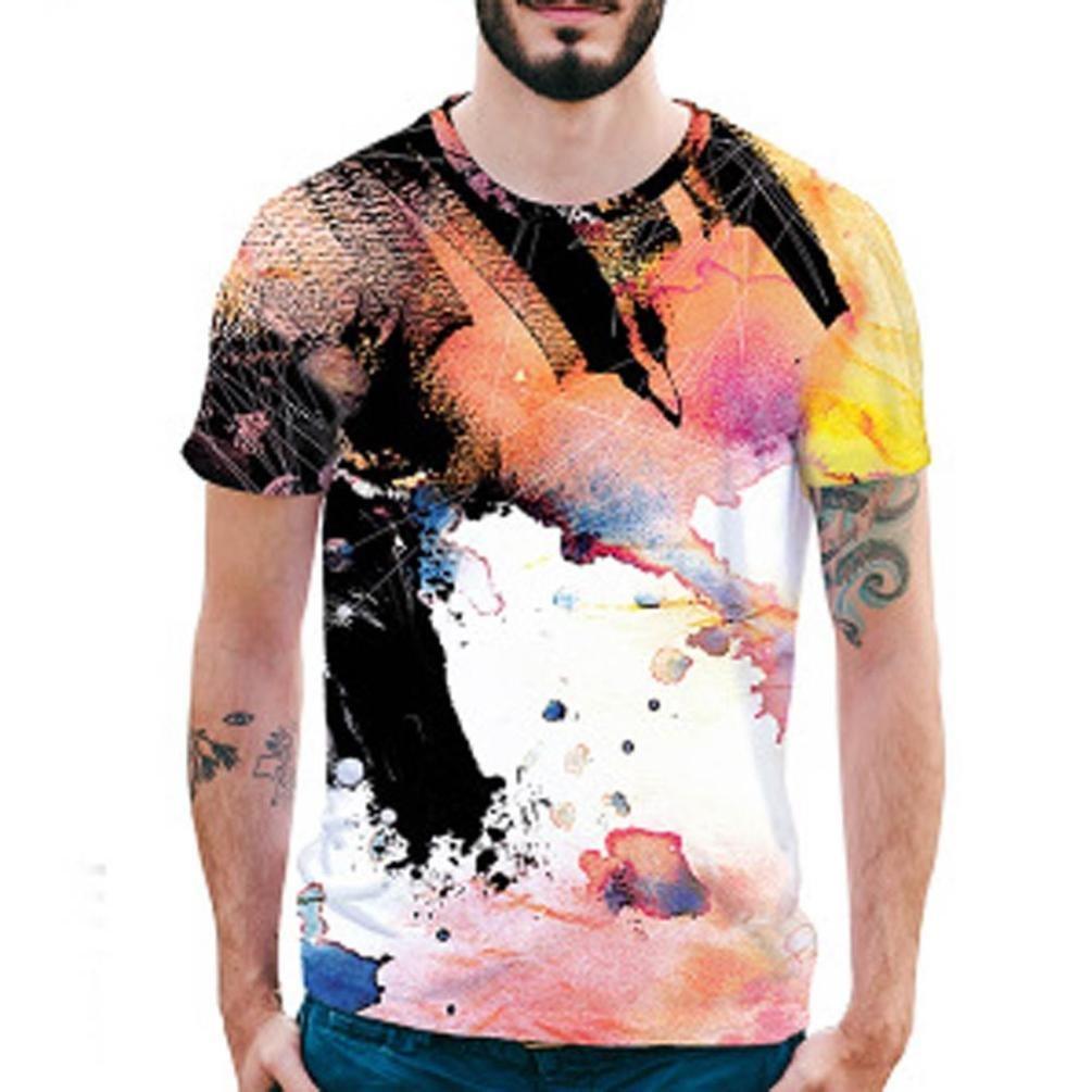 Longra Herren Bunt 3D Druck T-Shirt Sommer Tops Kurze Huuml;lsen T-Shirts T-Stuuml;cke Mauml;nner Design T-Shirt beilauml;ufige Hemd Bluse Rundhals Hawaiian Shirt T-Shirt Tees Tops  M|Multi Color 01