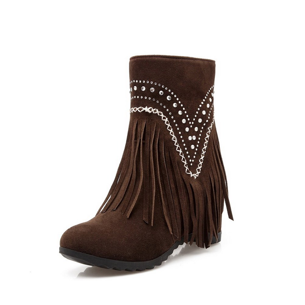 AandN Womens High-Heel Boots Closed-Toe No-Closure High-Heel Womens Warm Lining Ruched Nubuck Fashion Cushioning Bootie Urethane Boots DKU01897 B0791959ND Boots e2fb21