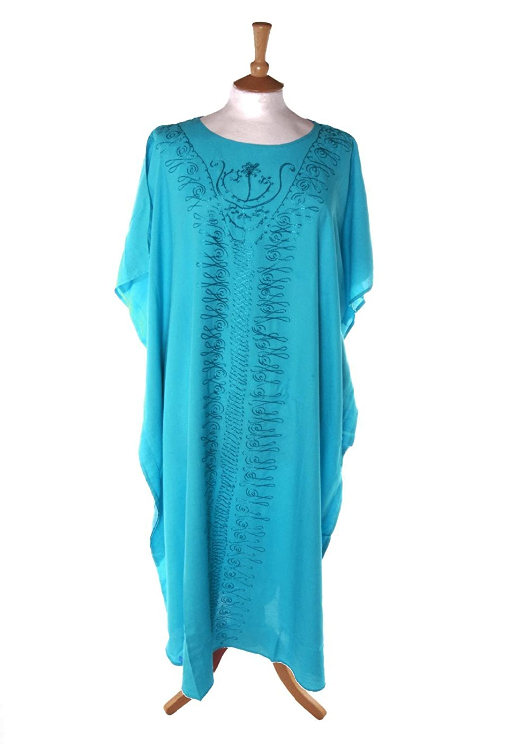 Didi 6064 Plain Beaded Kaftan in Turquoise sizes 14-34