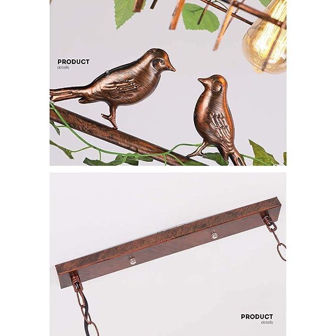 LALABOOM Forma de Jaula de pájaros Hierro E27 Lampara Colgante de ...