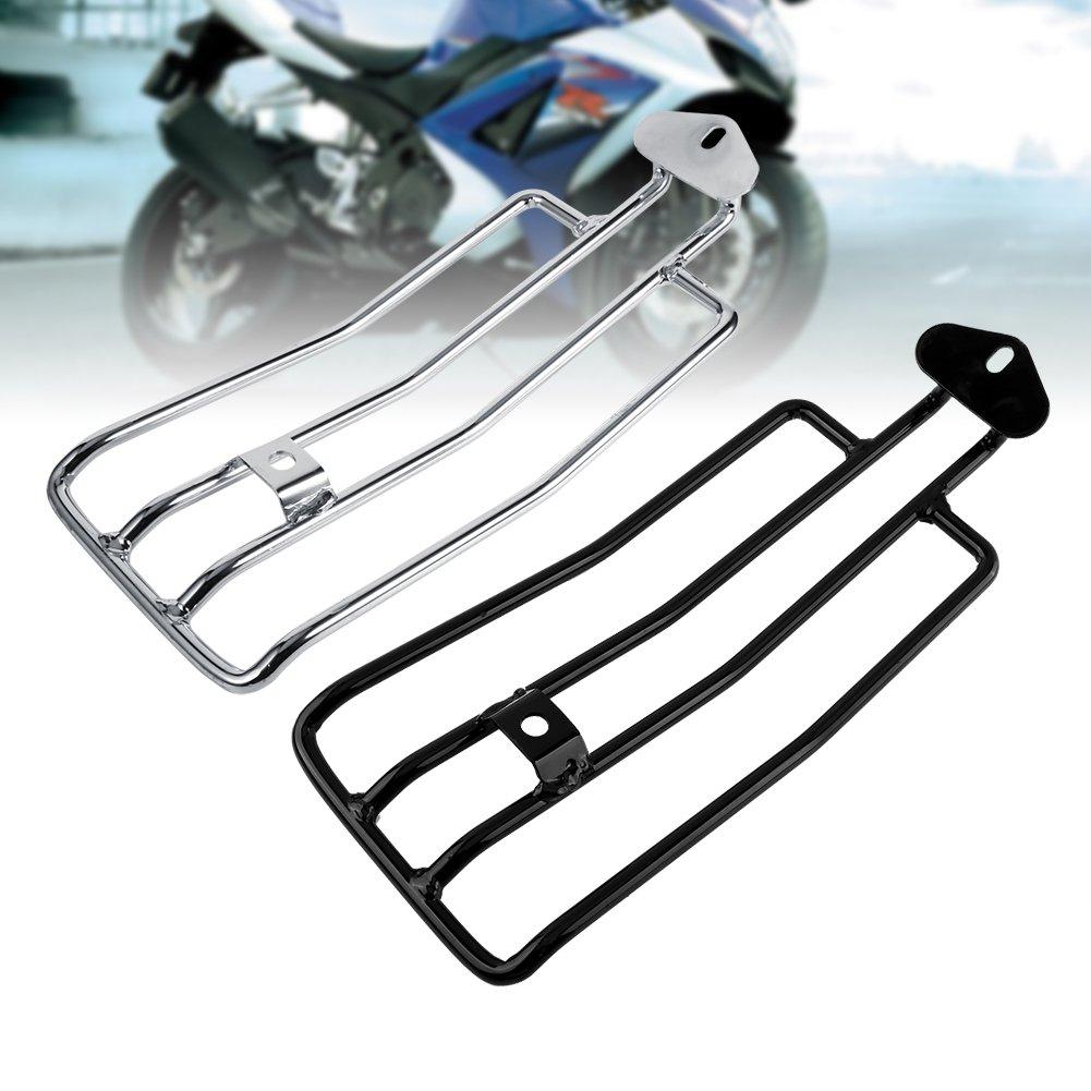 Cuque Motorcycle Rear Racks Universal Metal Electrodeposit Surface Motorbike Lid Luggage Rack Holder Storage Rack for Honda Yamaha Suzuki Sportster XL883 1200 X48 Silver
