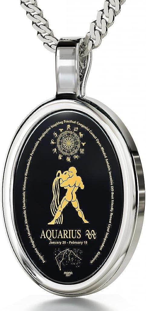 Collar con ónice y signo zodiacal Acuario en oro de 24ct - Regalo de cumpleaños