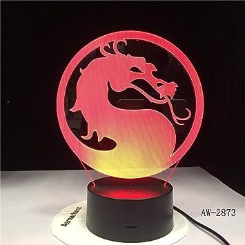 Cabeza Vuelta dragón lámpara de Mesa ilusión Sensor táctil niños ...