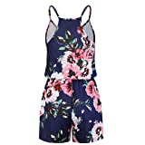 Handyulong Women Rompers Floral Print Strap Beach