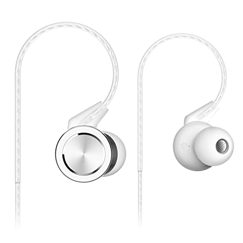 Senzer SE610 Earphones with Microphone Sport In-ear Headphones with Volume Control Noise Isolating Earbuds for iPhone / Samsung (White)