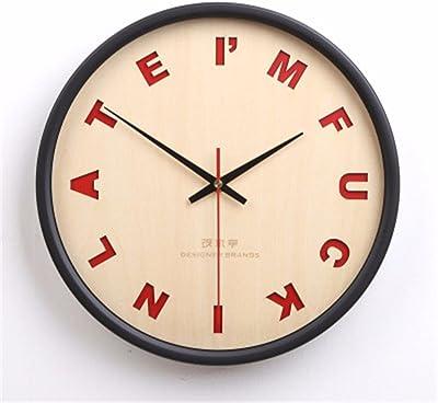 "15/"" Wall Clock Large Round Clocks Art Blue Wapiti Home Room Decor Wooden Made"
