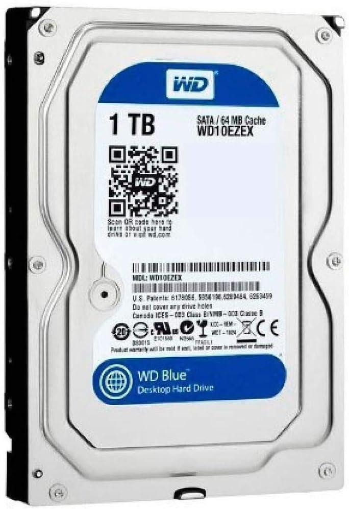 محرك الاقراص الصلبة الداخلي كافيار ساتا للكمبيوتر بسعة 1 تيرابايت وذاكرة تخزين مؤقت بسعة 64 ميجابايت و7200 دورة في الدقيقة من ويسترن ديجيتال - Blue WD10EZEX
