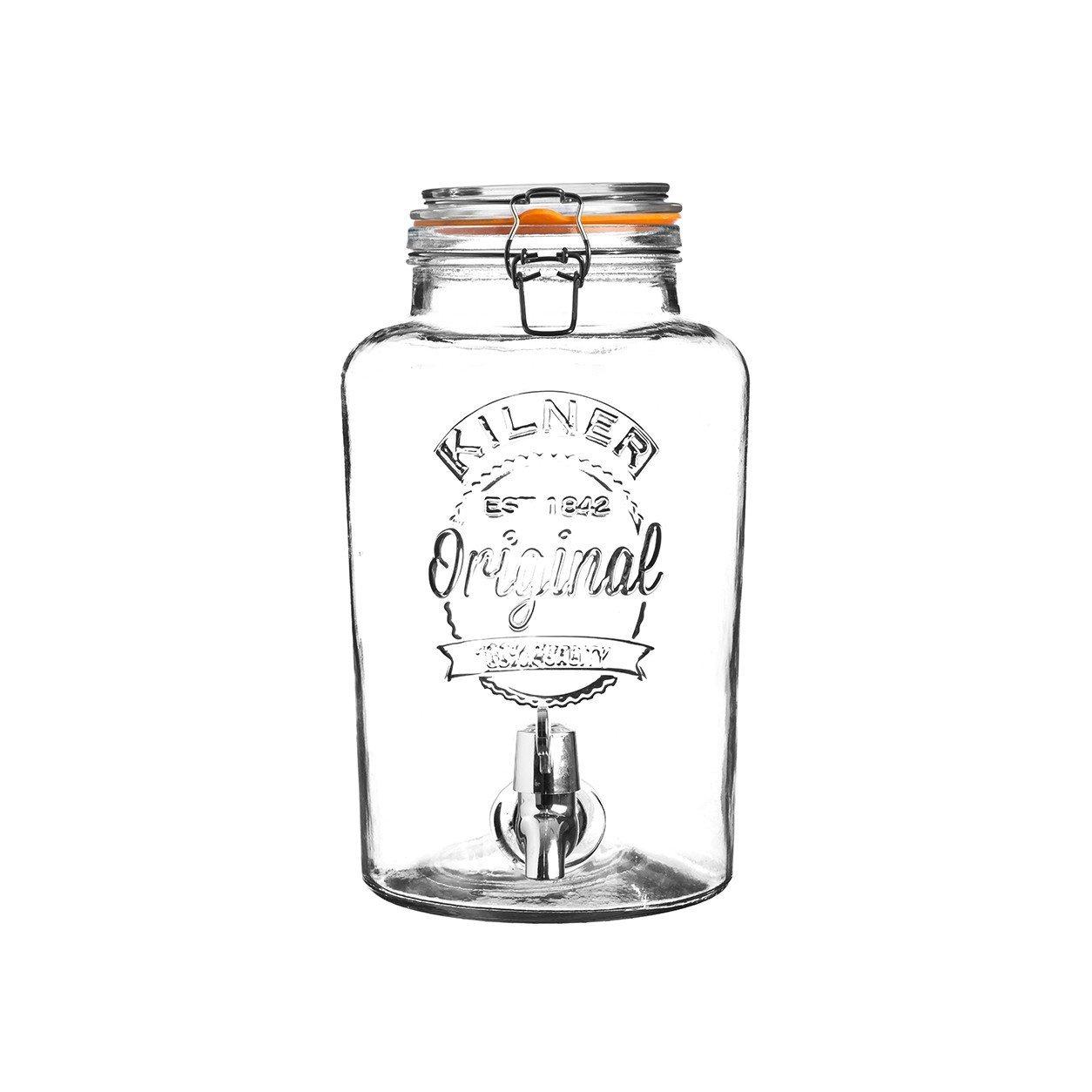Vintage Wasserspender Saftspender Zapfhahn Deckel Rayw Getr/änkespender Original 5 L Glas Einmachglas Optik mit Metall Clip