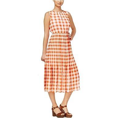 0c2d941ba5 Maison Jules Women s Chiffon Gingham-Print Casual Dress (Medium ...