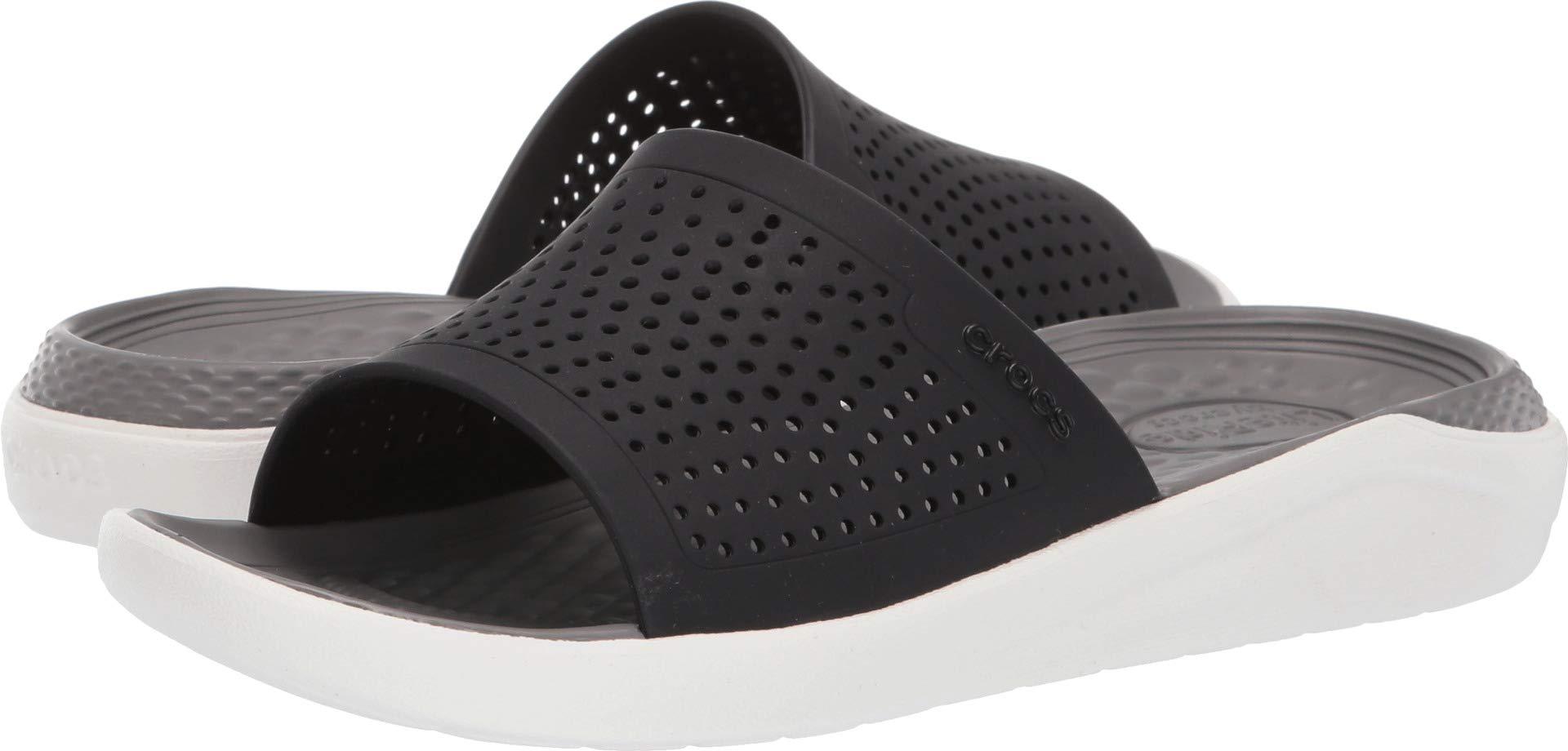 Crocs LiteRide Slide Sandal, Black/Smoke, 12 US Women / 10 US Men by Crocs