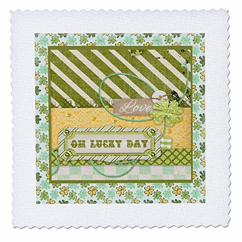 Beverly Turner St Patrick Day Design - Oh Lucky Day, Love, Shamrock on Banner, Buttons, Line, Diamond - 6x6 inch quilt square (qs_239517_2) (Custom 2 Line Banner)