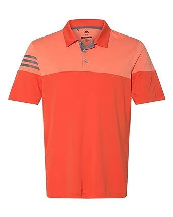 b8d1ec5338 adidas Golf Mens Heather 3-Stripes Block Sport Shirt (A213) -Blaze Oran